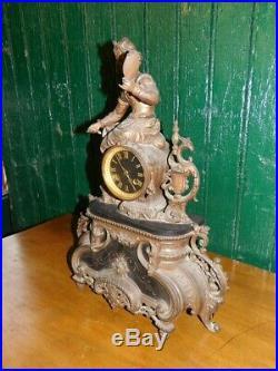 Pendule Horloge Napoleon III En Regule Et Marbre Noir