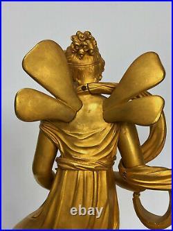 Pendule Houllay A Brest Epoque Empire Femme Ailee Au Carquois Riche Decor C2668