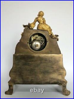 Pendule Japy Freres 19eme Neogothique Femme Romantique Linet Aine Bronze C2570