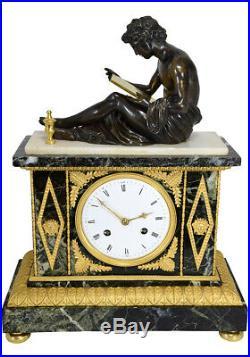 Pendule La Lecture. Kaminuhr Empire clock bronze horloge antique cartel