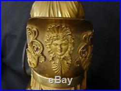 Pendule La Liseuse Lacroix Epoque Empire Bronze Marbre Cadran Email 19 Eme C841