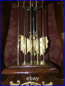 Pendule Lyre Bronze Au Mercure D'epoque Empire Au Papillon, Ht 52