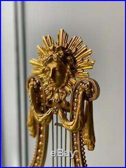 Pendule Lyre En Bronze Doré Porcelaine Bleue émail Pierres Du Rhin XIXe siècle