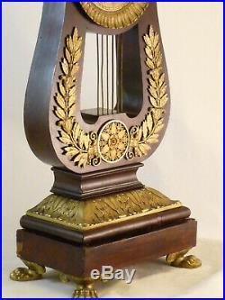 Pendule Lyre époque Restauration Acajou Bronze Doré clock uhr reloj