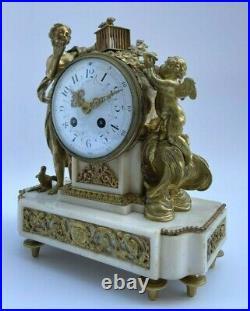 Pendule Napoleon III Decor Femme A La Cage Antique Cadran Email Marbre H2188