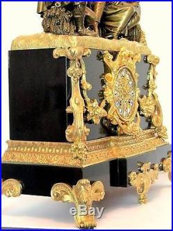 Pendule Napoléon III en bronze doré de 54 cm, second Empire, clock