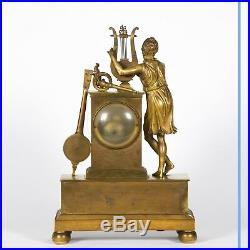 Pendule Orphée en bronze doré, XIXe