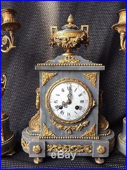 Pendule Ou Garniture De Cheminee Bronze Dore Marbre Napoleon Iii