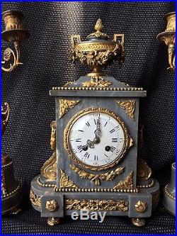 Pendule Ou Garniture De Cheminee Bronze Doré / Marbre Napoléon III St. Louis XVI