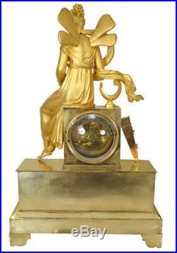 Pendule Psyché. Kaminuhr Empire clock bronze horloge antique uhren
