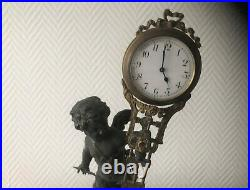 Pendule Régule & Bronze Signée ANFRIE Cadran sur Balancier Angelot Ange Horloge