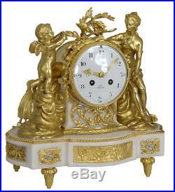 Pendule Venus et l'angelot. Kaminuhr Empire clock bronze horloge cartel uhren