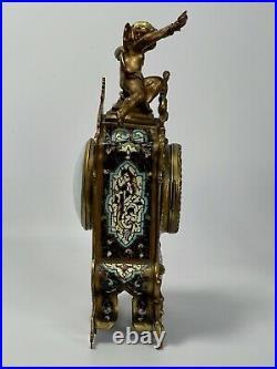Pendule Vincenti Et Cie Napoleon III Cloisonnee 19eme A Decor Ange Amour C2715