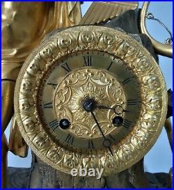 Pendule XIXe bronze XIXe empire mouvement fils à restaurer réf/A30/3