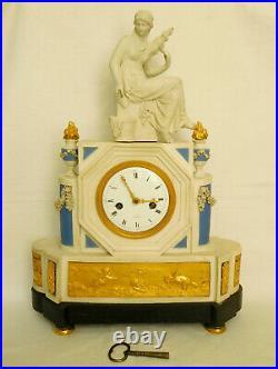 Pendule allégorique en BISCUIT & BRONZE DORE époque XVIIIe Directoire La Fileuse