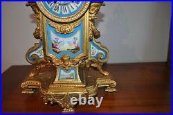 Pendule ancienne En Métal Doré Régule, Plaques Porcelaine De Sèvres époque 19èm
