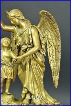 Pendule ancienne en Bronze Enfant Jesus Ange Gardien Albâtre 19ème clock ROBLIN
