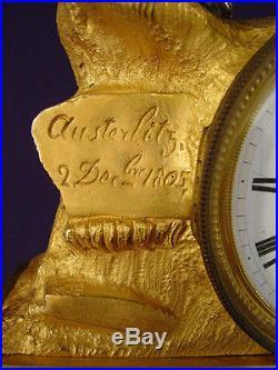 Pendule bronze doré Empire Charles X Napoléon Bonaparte clock uhr XIXéme H 52cm
