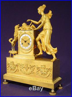 Pendule bronze doré Empire Restauration french clock uhr XIXéme 43 cm