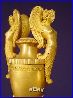 Pendule bronze doré Empire Restauration french clock uhr XIXéme 46 cm