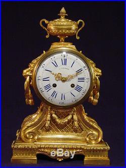 Pendule bronze doré Louis XVI french clock uhr second Empire XIXéme 1850