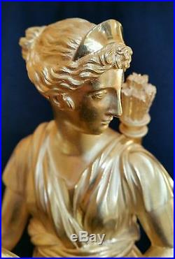 Pendule bronze doré et marbrre époque empire Diane chasseresse