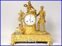 Pendule bronze doré berger chien déesse Flore chasse cerf Restauration XIXè
