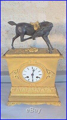 Pendule bronze doré cheval époque Restauration 1827