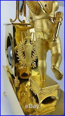 Pendule bronze doré époque empire Eros et la toilette de Psyché