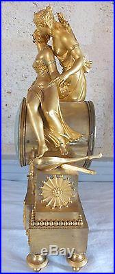 Pendule bronze doré époque fin 18 ème