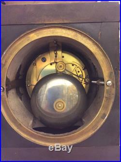 Pendule bronze et marbre Louis XIII couronne royale