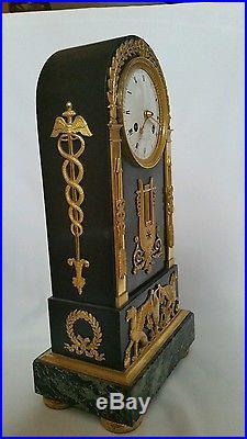 Pendule bronze et patiné époque empire signée PORCHÉ bronze attribué à GALLE