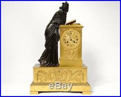 Pendule bronze femme antique Liseuse palmettes Restauration clock XIXème