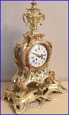 Pendule cartel à poser en bronze doré de style Louis XV XIXeme