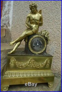 Pendule d'Honoré PONS en Bronze Doré à Sujet Allégorique Empire Restauration