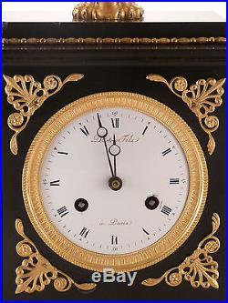 Pendule d'époque restauration marbre noir et bronze doré clock uhr reloj empire