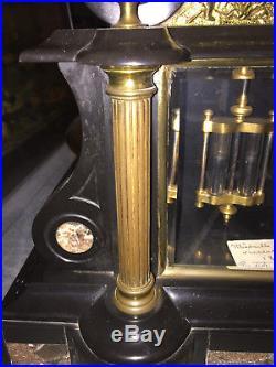 Pendule de Notaire en Marbre & Bronze à mouvement Brocot Napoléon III XIXème