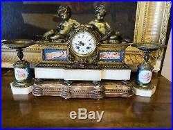 Pendule de cheminée bronze, porcelaine sévre, marbre NIII