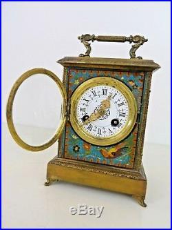 Pendule de voyage ou d' officier bronze et tole peinte XIXe Napoleon III