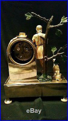 Pendule empire début xix en bronze trois couleurs le berger musicien