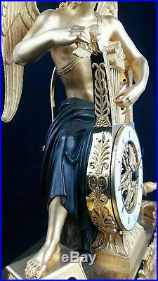 Pendule empire vers 1805 Apollon jouant de la lyre bronze attribué à C GALLE
