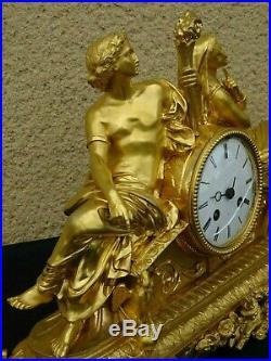 Pendule en bronze doré dépoque Charles X, clock XIXème