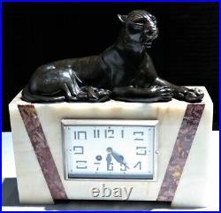 Pendule garniture de cheminée Art Déco tigre marbre set clock