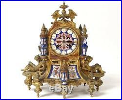 Pendule gothique bronze doré porcelaine chevaliers clock Napoléon III XIXè