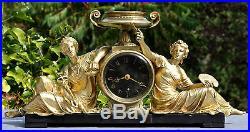 Pendule marbre & Bronze doré Divinité Antique Science & Art Napoléon III XIXe