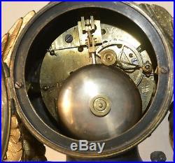 Pendule marbre et régule doré Retour d'Égypte Japy Fres Med d'Honneur XIXème