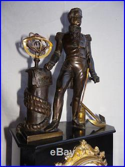 Pendule marbre et statue en bronze, époque 1850