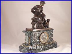 Pendule marbre vert bronze patiné de Salmson mouvement Denière clock uhr reloj
