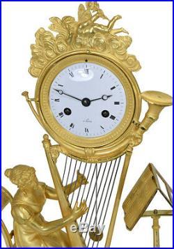 Pendule musique. Kaminuhr Empire clock bronze horloge antike uhren cartel