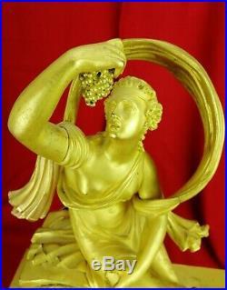 Pendule mythologie Bronze doré VIEL ROBIN XIXe N°213 ancien 47,5cm restauration